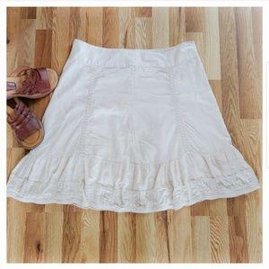 Merona Cream A-Line Eyelet & Macrame Midi Skirt